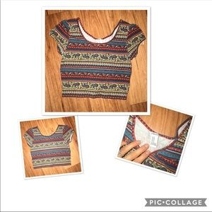 Forever 21 tribal crop stretchy western shirt top